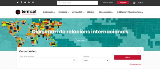 Web Termcat: Diccionari de relacions internacionals
