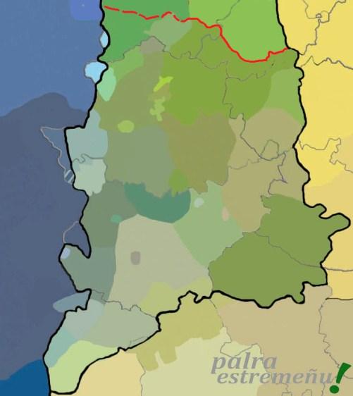 El mapa 2 refleja la variedad dialectal de la lengua extremeña y el dominio histórico de las lenguas asturleonesas.