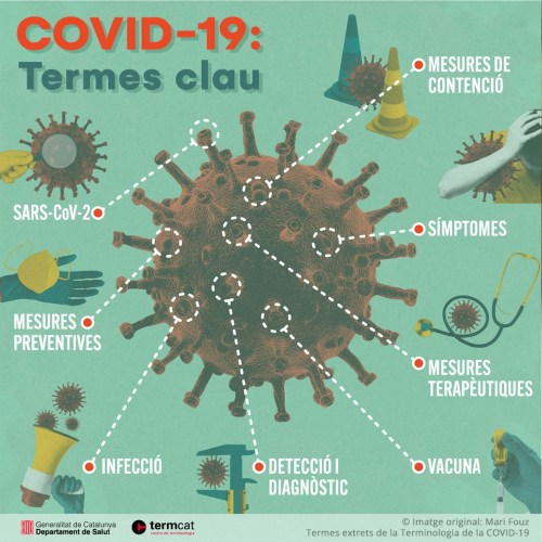 Infografia COVID-19: Termes clau: SARS-CoV-2, mesures preventives, infecció, detecció i diagnòstic, vacuna, mesures terapètiques, símptomes, mesures de contenció