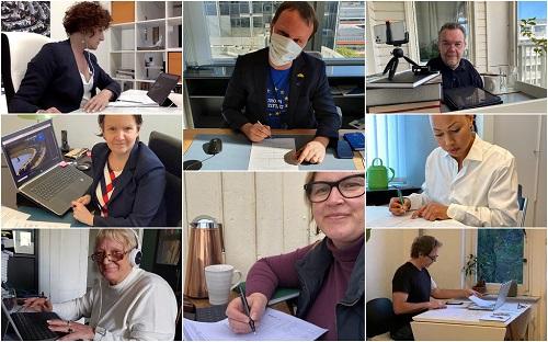 Muntatge fotogràfic amb alguns empleats del Parlament Europeu treballant.