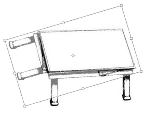Dibuix d'una taula sobreposada a sobre d el'altra, per demostrar que totes dues taules són iguals