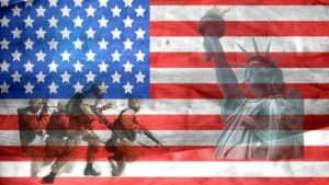 American flag with servicemen and Statue of Liberty
