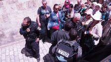 Police stopped worshippers from traveling the Via Dolorosa on Good Friday. Photo EAPPI/J. Valkamam.