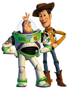 Buzz Lightyear and cowboy Woody of TOY STORY