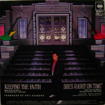 "back cover of Billy Joel's ""Keeping the Faith"" single (1984)"