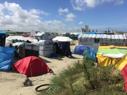 The tents in Calais Jungle before new arrivals pitched tents between each of them