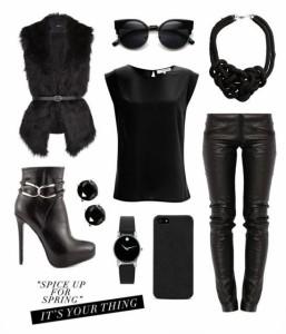 Whoa Girl Black Leather