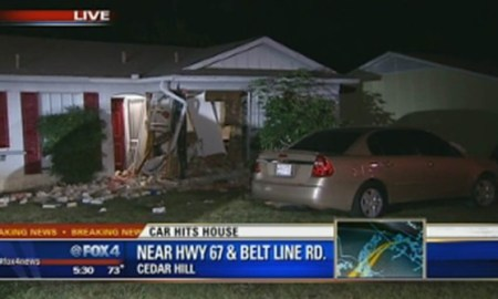 CEDAR HILL, Texas - A woman was seriously injured after her husband drove a car into their house in Cedar Hill. Police said it happened just before 4 a.m. Tuesday on Bristol Drive near Highway 67 and Belt Line Road. Police said the couple began arguing through a window after the husband arrived home late and the wife would not let him inside. The man then drove into the bathroom where the woman was at the time. Neighbors heard the noise and called police. They said the man did wait for police to arrive but did not help the woman. The woman was pinned under the car. She was flown to a hospital with serious injuries to her lower body. Police arrested the husband. He is charged with aggravated assault.