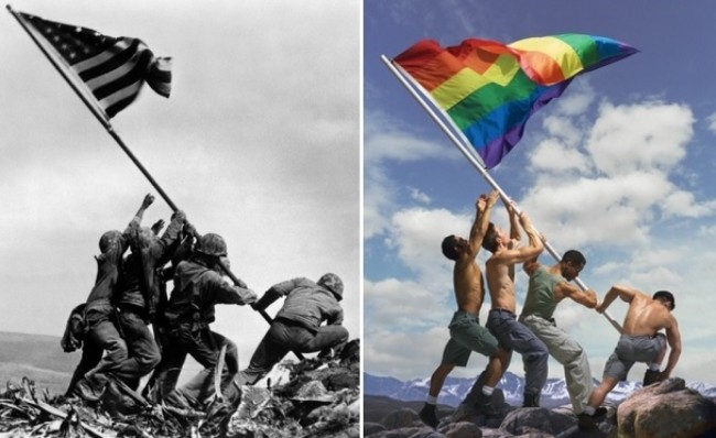 Iwo Jima Marines Photo Adaptation Depicting The Gay Pride Flag Ignites Outrage!