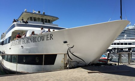Horn Blower Cruise Boat Crashes Into San Diego Pier Narrowly Missing Elderly Woman