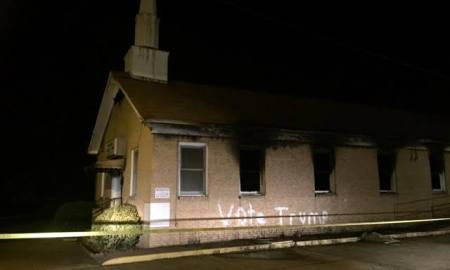 "Mississippi Church Burned & Painted ""Vote Trump"""