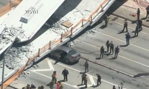 FIU Pedestrian Bridge Collapsed In Florida Crushing Cars & Killing Several People