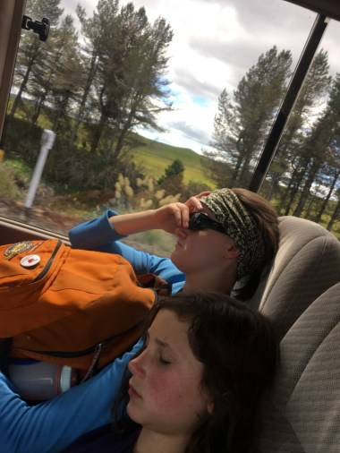On the shuttle ride back from the Crossing some tired hikers took a quick nap.