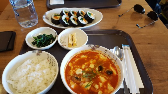 Truman's lunch of sundubu-jjigae and gimbap at Auri