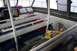 Regan taking a restorative rest after feeling a little seasick