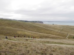 Students taking a stroll on the Port Hills outside Christchurch