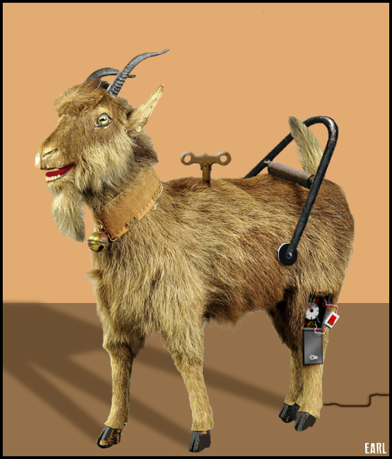 """""""The Sultan's Mechanical Goat"""". Iranian. Antique circa 1888. Originally powered by key-wound spring, converted to AC electric motor 1978."""
