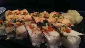pressed sushi (top: seared salmon, bottom: seared mackerel)
