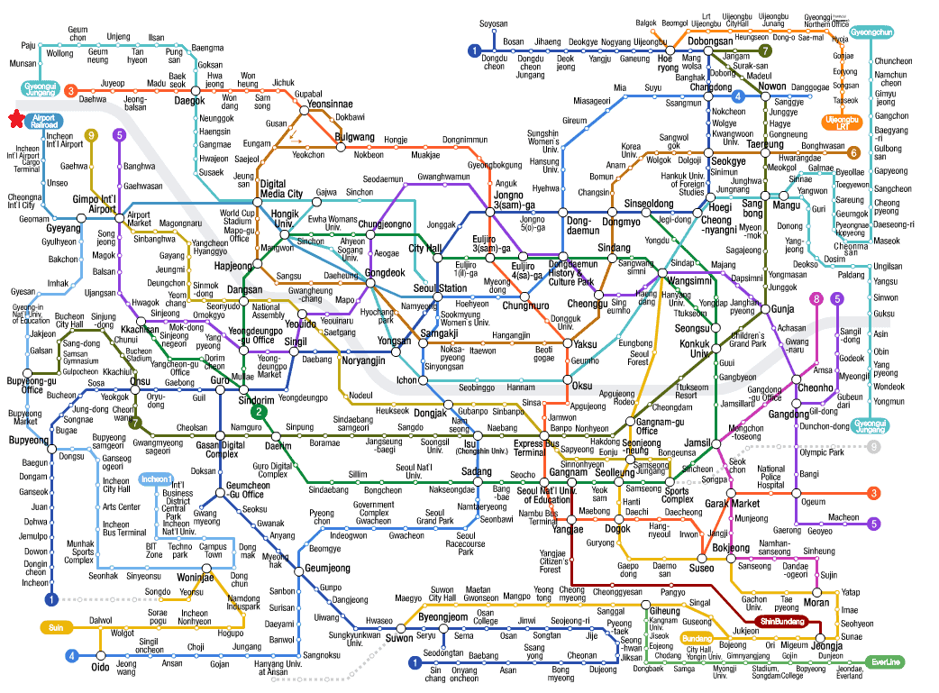 Seoul Metropolitan Subway (Airport Railroad Line is marked by red star)