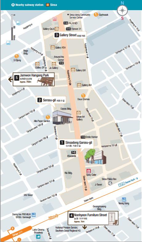 map of sinsadong garosugil