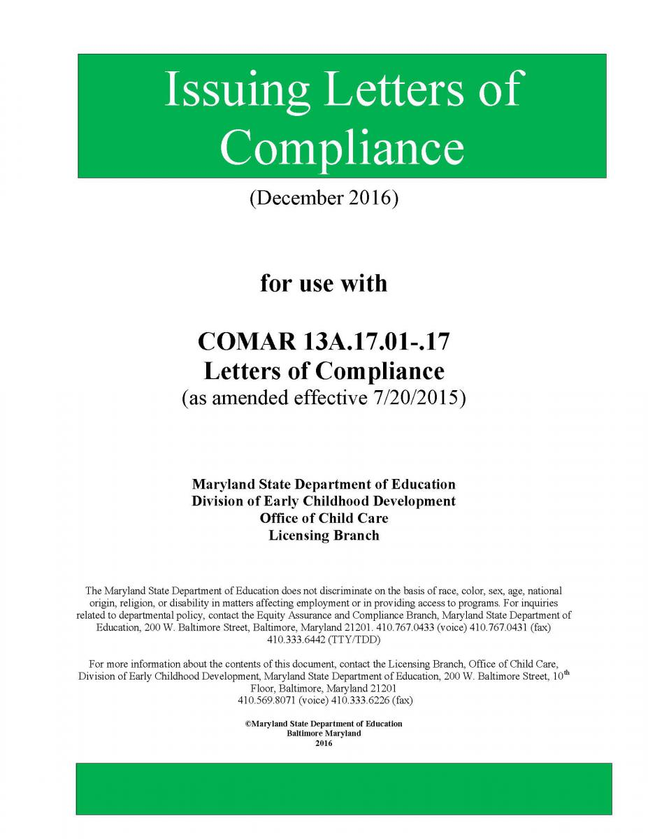 Letters of Compliance Manual  Division of Early Childhood