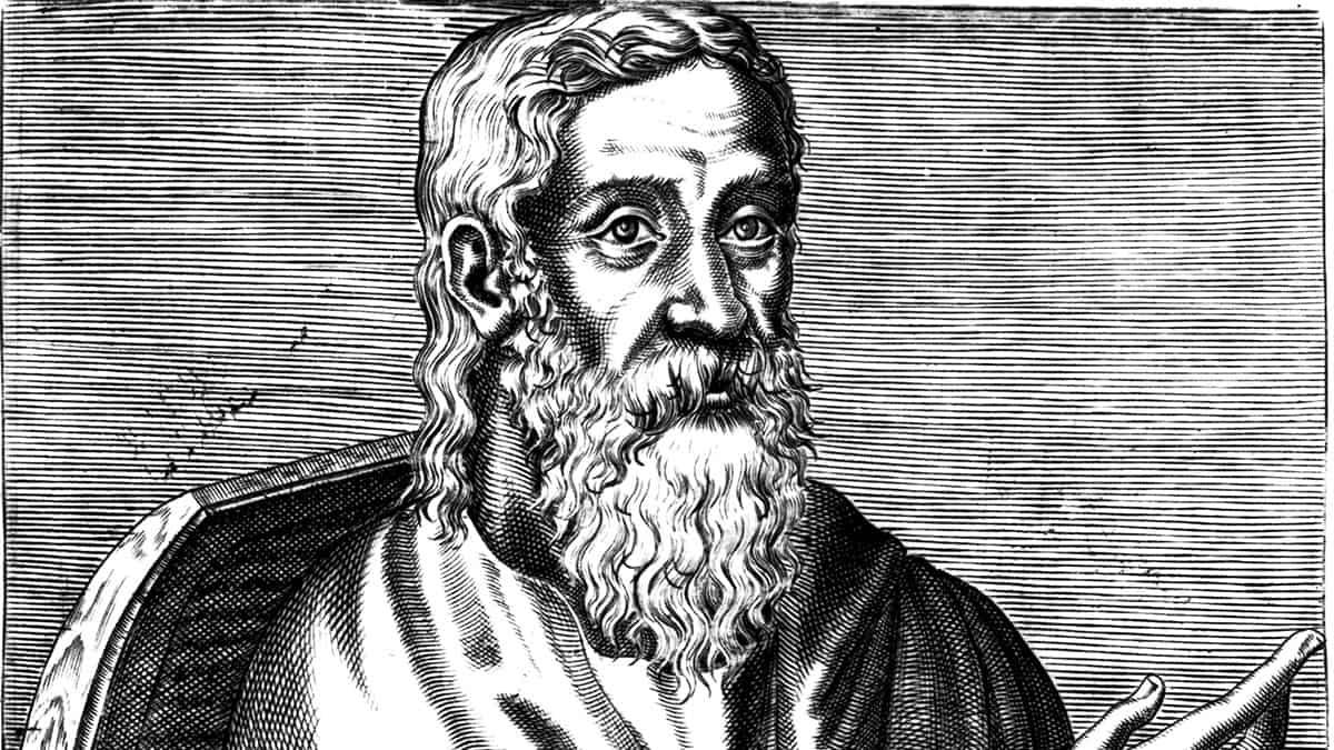 Clement of Alexandria, from book 1, folio 5 recto of Les vrais pourtraits et vies des hommes illustres grecz, latins et payens (1584) by André Thevet