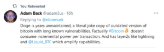 Adam Back Refutes Elon Musk About Dogecoin
