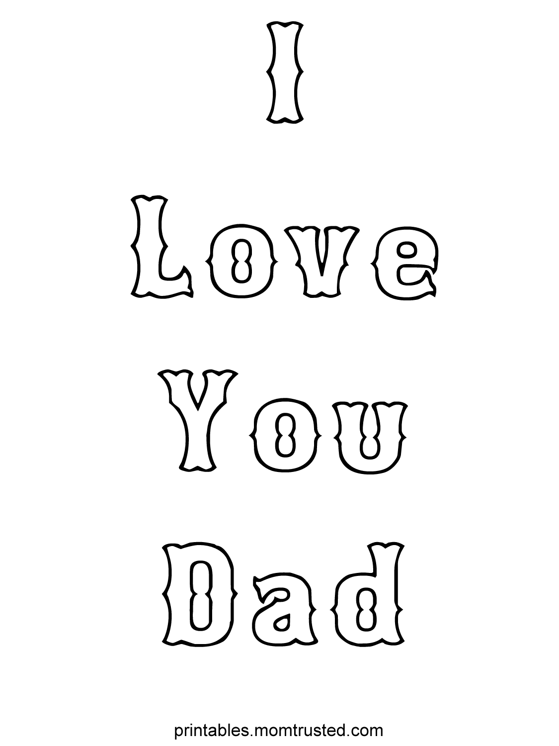 I Love You Dad Coloring Sheet