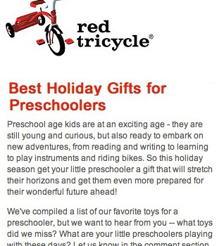Red Tricycle Lists Early Lingo as Best Holiday Gifts for Preschoolers