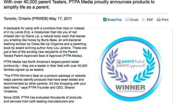 PR Web: New Parent Tested Parent Approved Product Announcement