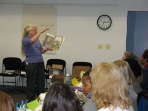 Prof. Mary Hynes-Barry at one of the first professional development sessions of the Early Math Collaborative, circa 2007.