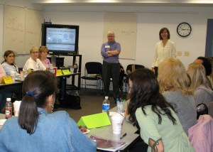 Mary Hynes-Berry and Jeanine Brownell leading one of the first professional development sessions, circa 2007.