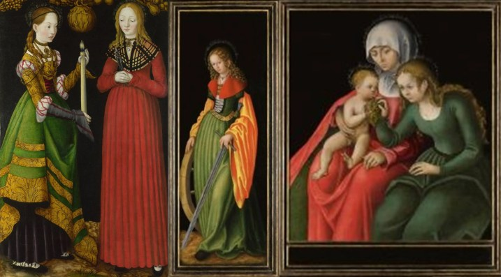Three depictions of saintly women wearing green by German renaissance painter, Lucas Cranach the Elder, c. 1472–1553. Left to right: Saint Genevieve (with Apollonia); Saint Catherine of Alexandria; Saint Anne with the Virgin and Christ child.