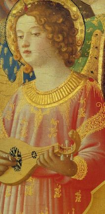 3 string gittern in Coronation of the Virgin by Fra Angelico, painted 1434-1435.