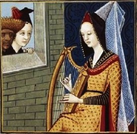 Sempronia the Averted, depicted playing a bray harp in the Bibliothèque nationale de France (BnF) MS Français 599, folio 68, 15th century.