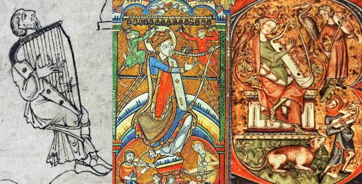Left: The first inked illustration of a European harp, in the Caedmon or Junius manuscript, 930. Middle: The Hunterian or York Psalter of 1170, with brays, which appears to be a new introduction. (Also pictured are bells, a rebec and a vielle.) As you see with the donkey at the top of this article, it's not the only bray harp in the Hunterian Psalter. Right: The Peterborough Psalter of 1310–20, by which time brays were standard. (Also pictured are a fiddle and a citole.)