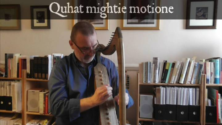 Click picture to play video – opens in new window. A song to demonstrate the bray harp, including the practice of 'fretting' a note, described in the article below, where the note of a string is needed both natural and sharp, or flat and natural, in the same piece of music. Quhat mightie motione by Captain Alexander Montgomery (1540?-1610?), a distant cousin of King James VI of Scotland, was set to music anonymously in the partbooks of Thomas Wode, written c. 1562-1590, and arranged for bray harp by Ian Pittaway.
