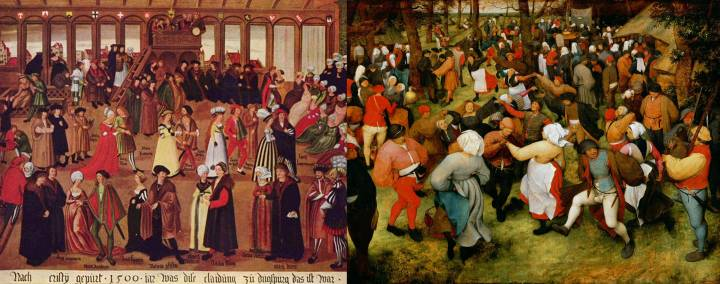 Two aspects of renaissance dance. Left: Süddeutscher Meister's painting, Augsburger Geschlechtertanz im Tanzhaus am Weinmarkt (Augsburg citizens in the dance house on the wine market), Germany, 1500. They appear to be dancing a stately pavan. Right: A rural wedding dance by Dutch painter, Pieter Bruegel the Elder, 1566.