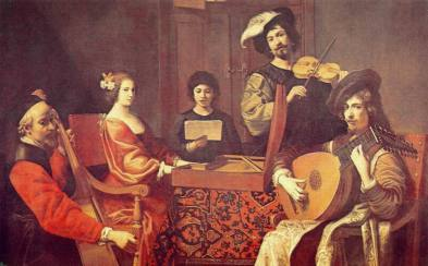 Robert Tournières, Concert, France, 1690s, showing a baroque cello, virginals, singer, violin, and French baroque lute.