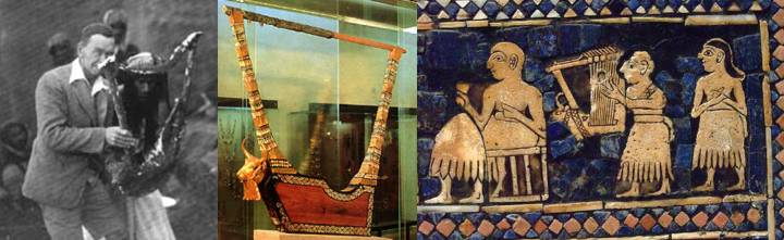 Left: Leonard Woolley, with one of the excavated lyres. Middle: One bull lyre of Ur, dated 2600–2400 BC. Right, the same as depicted being played on a panel of the standard of Ur, a hollow wooden box with inlaid mosaics.
