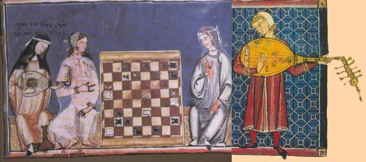 In 1283, Alfonso X commissioned a book of chess endgame problems, from which the illustration on the left comes. We see a woman in Arab clothes on the left of the board (notice the henna-decorated fingers), a woman in Christian clothes on the right of the board and, on the far left of the picture, a Christian oud player, playing with a quill and what certainly appears to be a fretted neck. The two ouds in the illustration that heads this article, taken from the Cantigas de Santa Maria, 1260–80, also commissioned by Alfonso, are fretless, as is the one above right, the placing and patterns of the lines on the neck showing them to be clearly decorative.