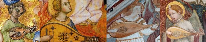 The iconographical evidence suggests that western lutes were without frets until around 1400, just at the time when lute images, little seen previously, began to proliferate. Here we have 4 Italian images of lutes, all fretless, from this transitional period. Left to right, they are details from: anonymous, The calling of Saints Peter and Andrew, MS 34, f.172, Bologna, 1389-1404; Andrea di Bartolo, The Coronation of the Virgin, 1405-07; anonymous, mural in San Francesco Church at Giffoni Valle Piana, Venice, c. 1400; Ottaviano Nelli, Madonna del Belvedere, Church of Santa Maria Nuova, Gubbio, 1403.