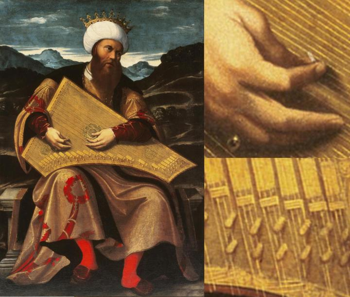 King David playing the psaltery, painted in the first half of the 16th century by Venetian artist Girolamo da Santacroce.
