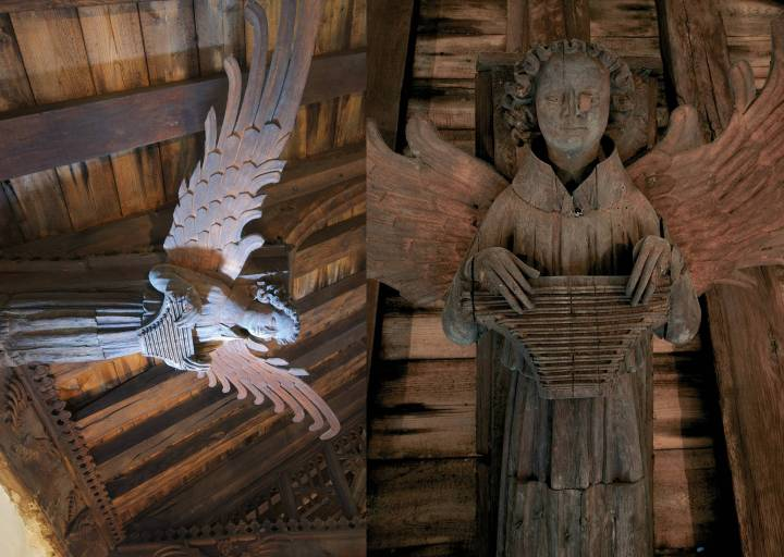 A psaltery-playing roof angel in Saint Nicholas' Church, King's Lynn. Pictures used with the kind permission of author Michael Rimmer.