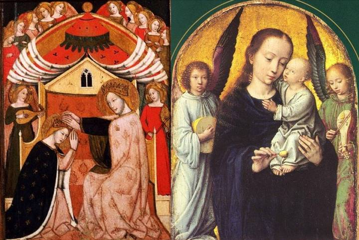 Two holy pairings of the rebec and lute. Left: Vitale da Bologna, Italy, Coronation of the Virgin, 1353. Right: Gerard David, Netherlands, Madonna with angels making music, c. 1500.
