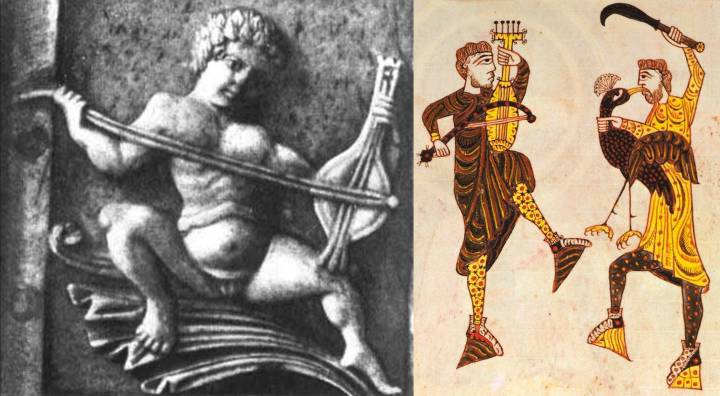 Left: Byzantine rebab, c. 1000, now in the Museo Nazionale, Florence. Right: What certainly appears to be a five string rebab (five strings tarrying with five tuning pegs) in a Spanish antiphonarium completed in 1109, now B.L. Add. 11695.
