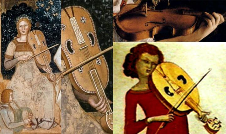 Left: Two details from The Way of Salvation fresco in the Spanish Chapel, Florence, by Andrea di Bonaiuto, 1365. Here we see the low, flat bridge and the use of a bourdon on a 5 string vielle. The position of the thumb implies the bourdon may be plucked while the other strings are bowed. The illustration bottom right (source unknown) strongly suggests this, too. Compare the shape and the low height of the vielle bridge from the green angel in the Immaculate Conception Altarpiece above and from The Way of Salvation fresco with that on the detail of the baroque violin, top right, from Orazio Gentileschi, Young Woman Playing a Violin, c. 1612. The low, flat vielle bridge would facilitate playing all the strings as one sonic block, not possible on the curved violin bridge, and would make it much fuller-sounding but quieter than the violin.
