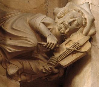 4 string fiddle and fiddler carved in Beverley Minster, c. 1335, clearly showing a flat bridge and a 2 course arrangement of strings.