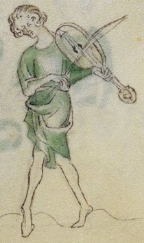 Another fiddle player in the Queen Mary Psalter, England, 1310–20, as also shown at the head of this article.