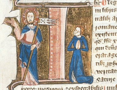 Jesus and a worshipper, from British Library Royal 6 E VII f. 232v, c. 1360 – c. 1375.